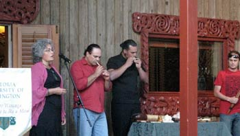 Taonga puoro being played on the marae at Victoria University