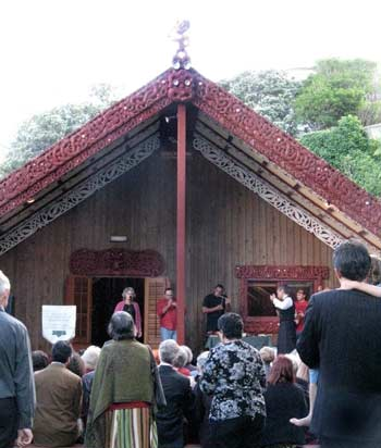 Gathering on the marae at Victoria University